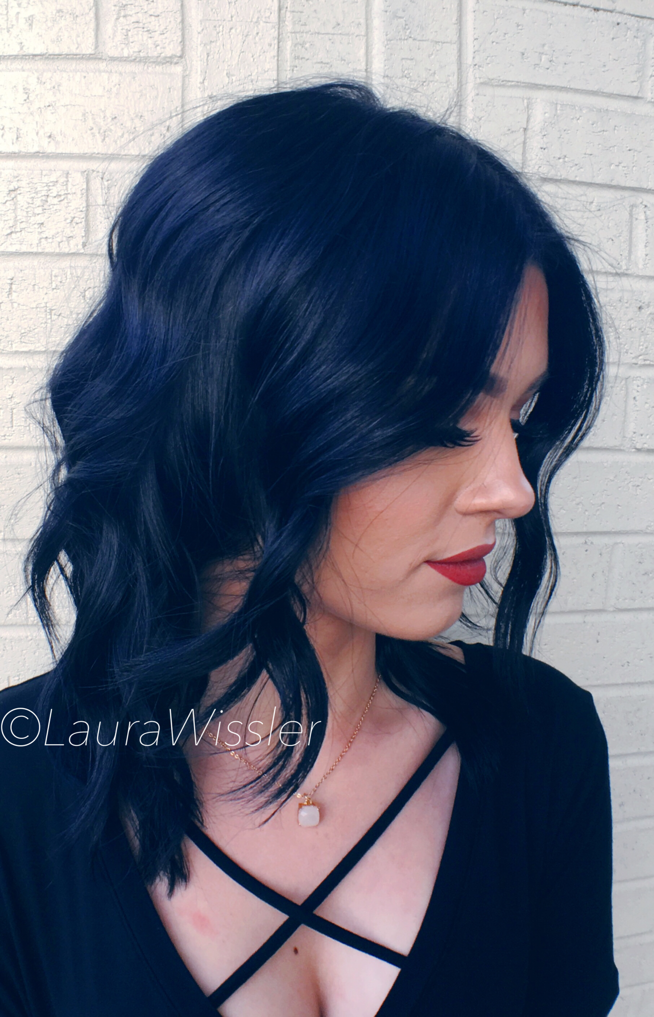 midnight blue black hair color & textured lob instagram