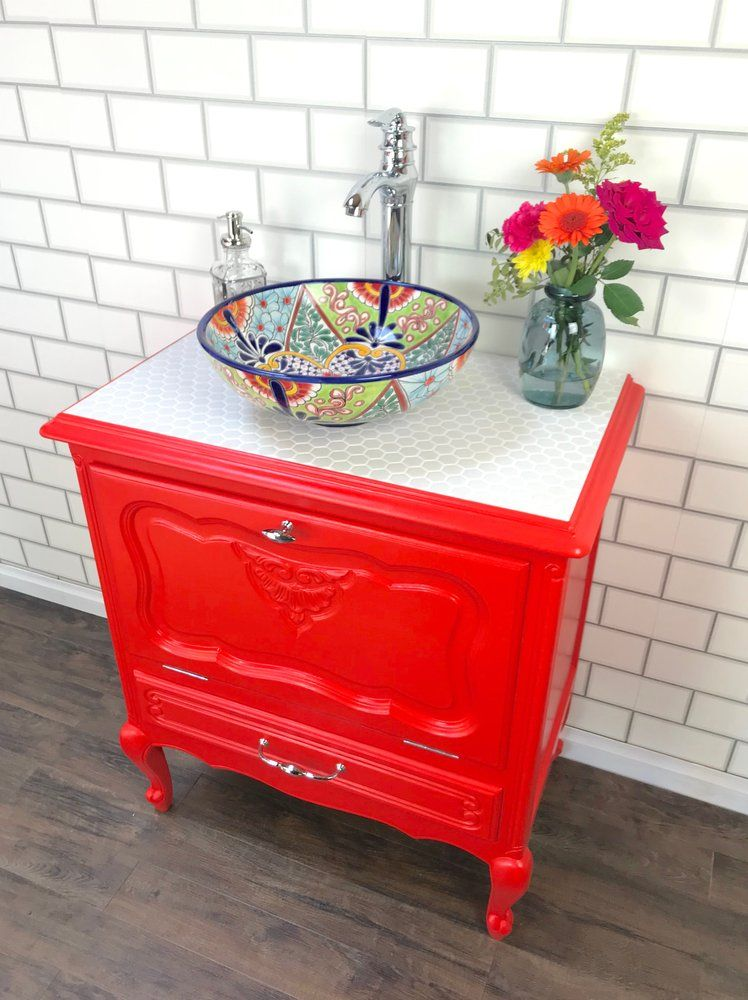Image of Red Vintage Vanity Unit with Hand Painted Vessel ...
