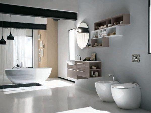 Feridras Bagno ~ Pensile bagno sospeso moderno con specchio e ante arredo aradia