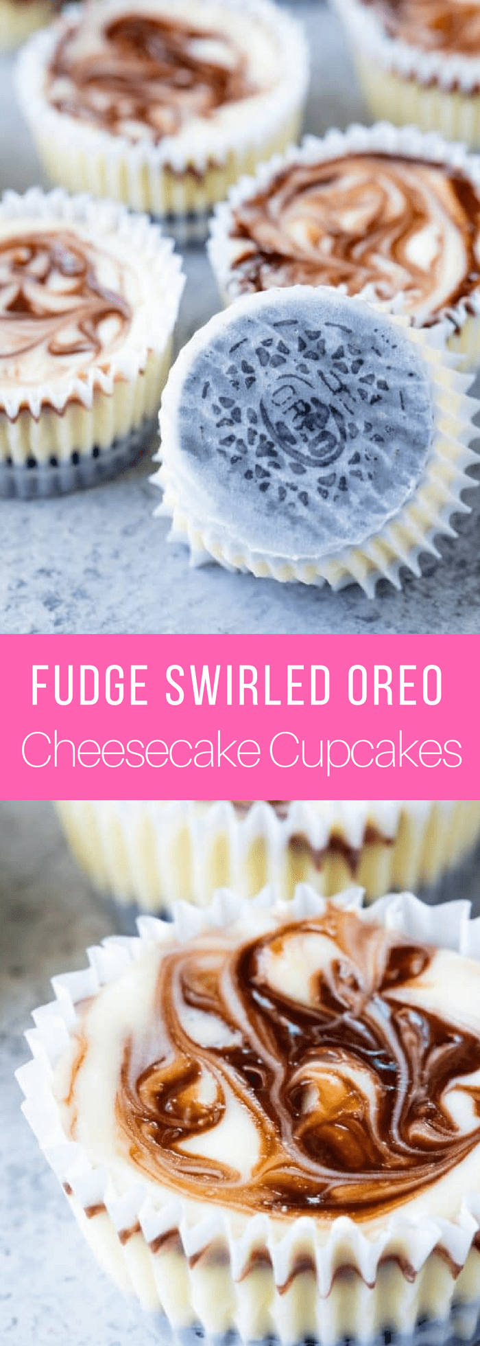 Fudge Swirled Oreo Bottom Cheesecake Cupcakes are a delicious twist on your standard cupcake. It's a fudge swirled mini cheesecake that sits on top of an Oreo cookie. What's not to love?