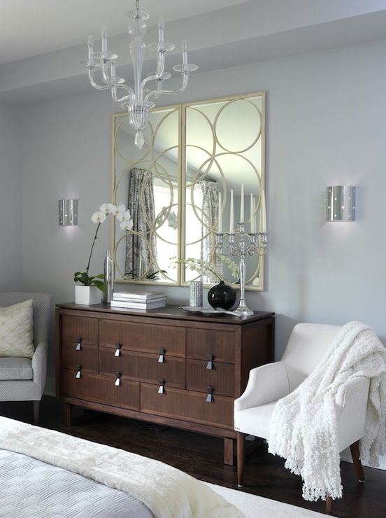 Sarah richardson design bedrooms ici dulux universal grey arteriors nikita iron mirror Master bedroom with grey furniture