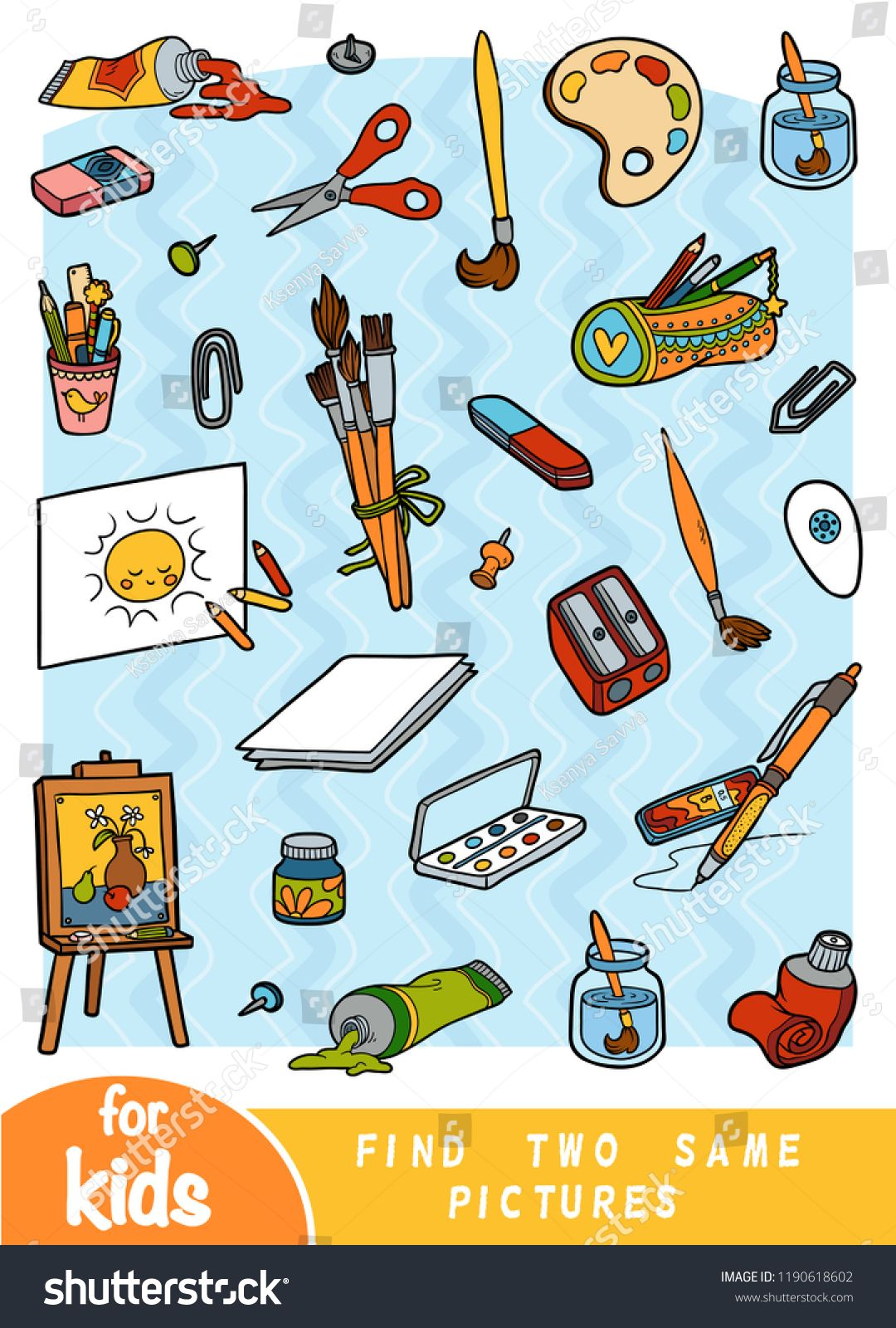 Find Two The Same Pictures Education Game For Children Color Set Of Artists Objects Education Game Find Pictures Color Set Logo Graphic Games For Kids