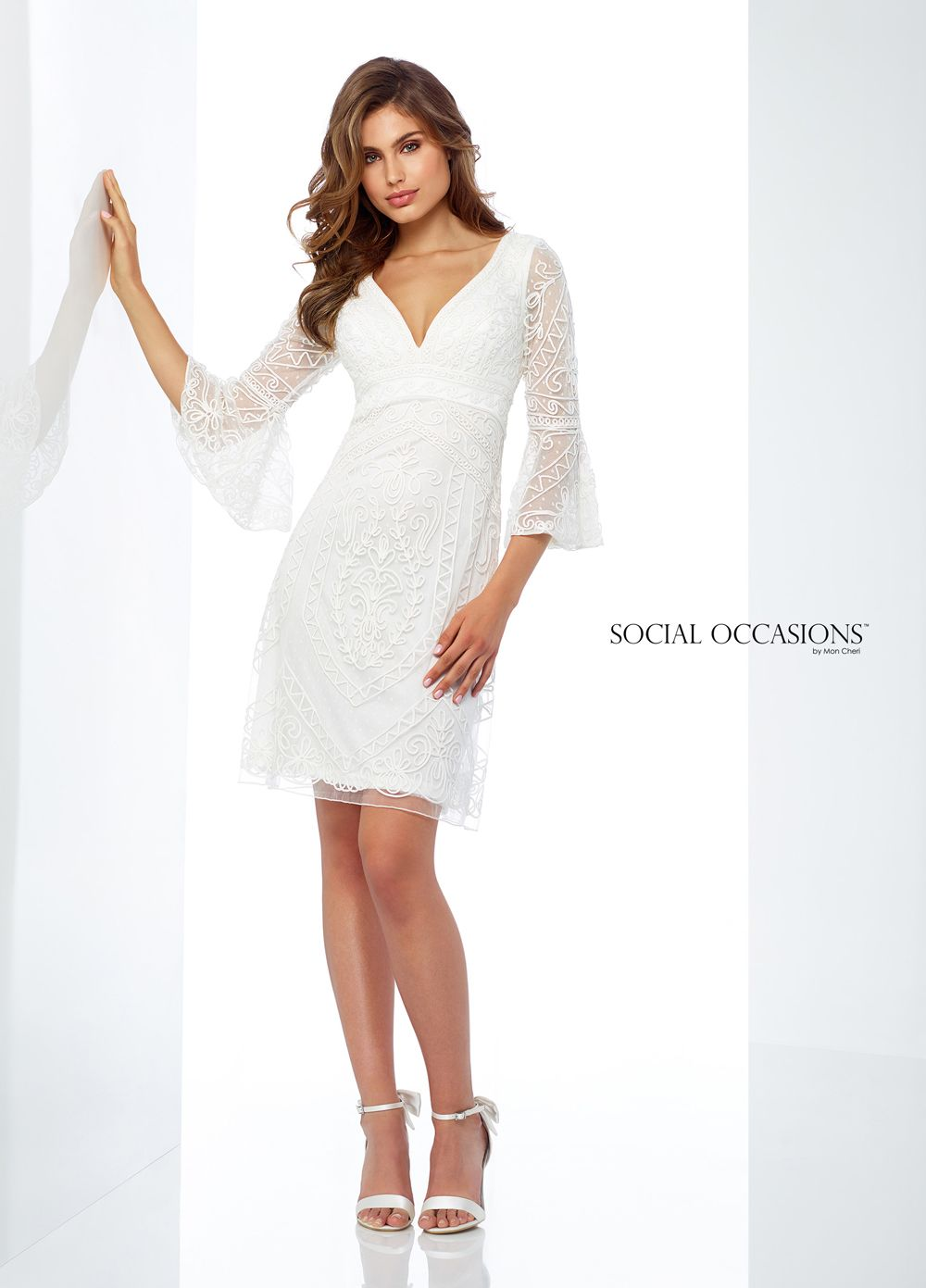 This Social Occasions By Mon Cheri 118863 Formal Short Dress Features Three Quarter Bell Sleeves T Bell Sleeve Short Dresses Short Dresses Short Wedding Dress