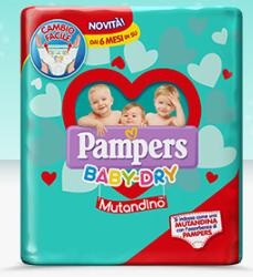 Campione gratuito Mutandino Baby Dry offerto da Pampers