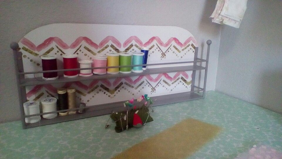 Hobby lobby find small shelf to organize small craft items like thread shelving Craft room decor organization colorful cheery shabby chic Sugardivasdesigns purple coral pink teal mint white gold