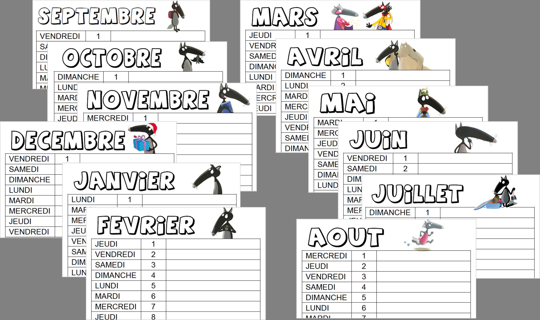 Calendrier 2018 2019 le loup le loup pinterest calendrier 2017 2018 calendrier 2018 - Modele de loup a imprimer ...