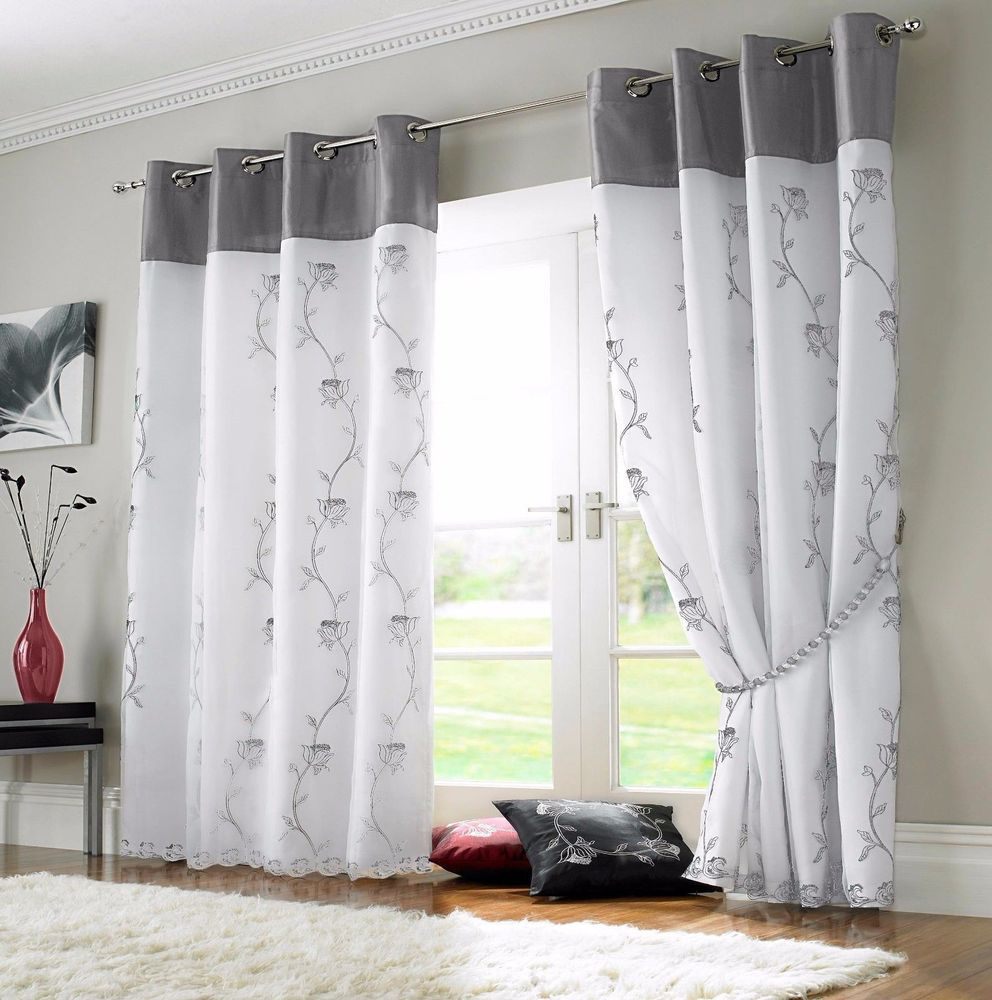 Black Voile Curtains Details About Tahiti Silver Grey Luxury Silk Border Flowers White