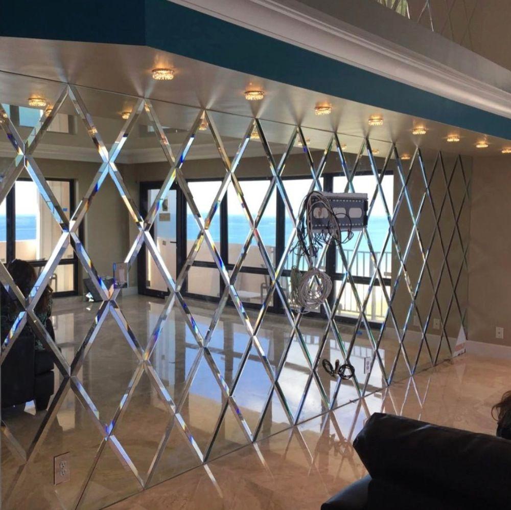 Espejo de vidrio biselado de lujo personalizado para pared