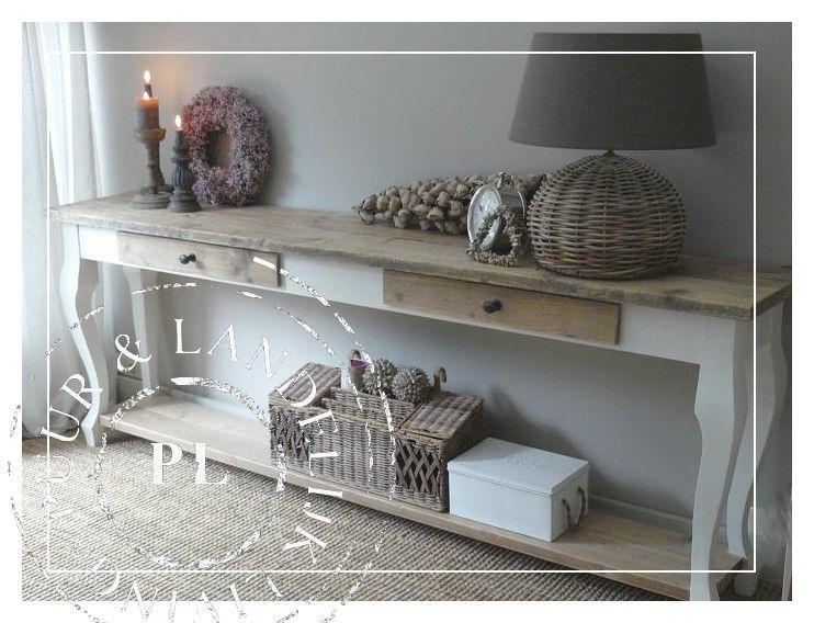 NEW NEW landelijke sidetable Old Wood / Riviera White   Slaapkamer ...