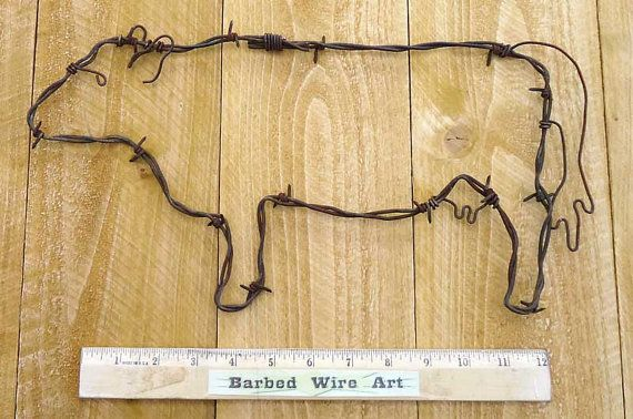 Cow - Handmade metal decor barbed wire art country western wall ...