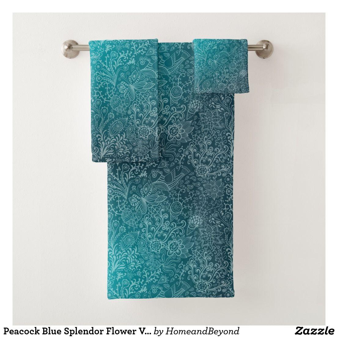 Peacock Blue Splendor Flower Vintage Pattern Bath Towel Set Floral Bath Towels Patterned Bath Towels Peacock Bathroom