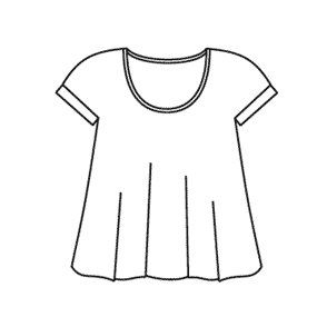 Loose fitting knit top has cuffs on sleeves and scoop neck with binding on neck opening.