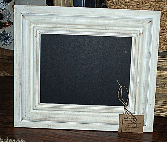 Vintage White Wash Picture Frame Or Chalkboard 11x14 Picture Opening 19 X 22 Total Size Frame White Vintage Picture Frames