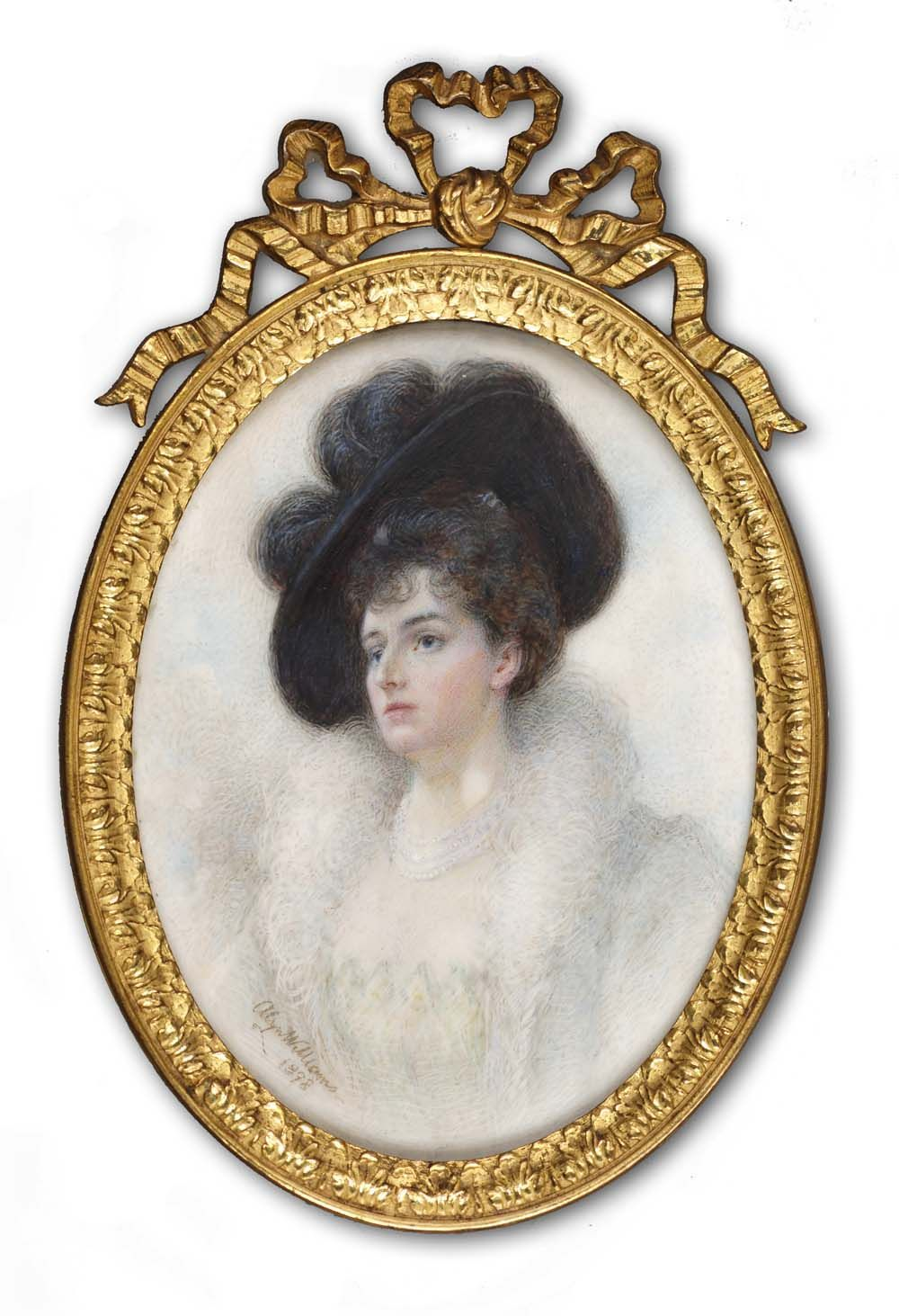Lady in a black hat Signed and dated 1898 by Alyn Williams