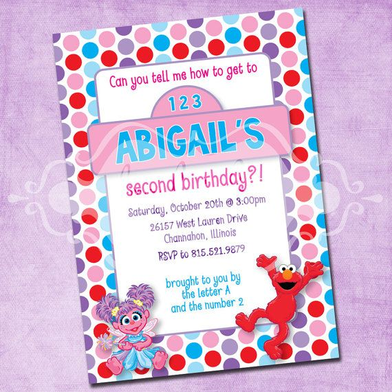 elmo and abby birthday party invitation by freshinkstationery, Party invitations