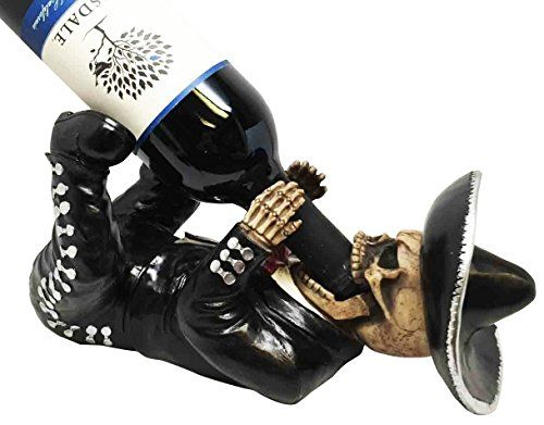 KITCHEN DECOR DIAS DE LOS MUERTOS MARIACHI SKELETON WINE BOTTLE HOLDER FIGURINE -- You can find out more details at the link of the image.