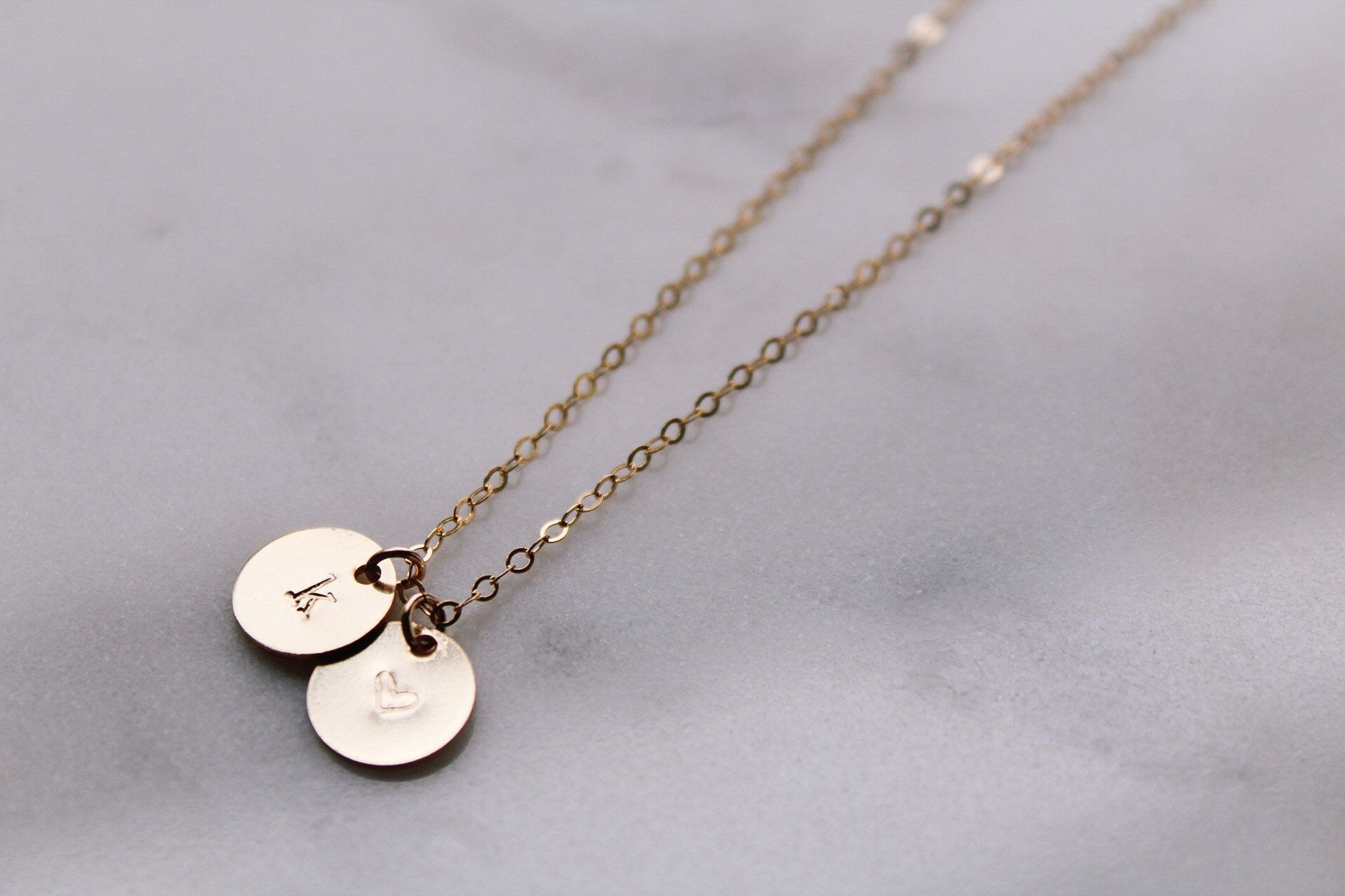 Gold Double Initial Disc Necklace 2 Disc Initial Charm Etsy Initial Necklace Gold Initial Necklace Gold Circles Initial Necklace