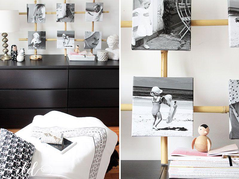 DIY-Kollage-im-Schwarz-Weiß-Look-fürs-Schlafzimmer Dekoration - schlafzimmer deko wei