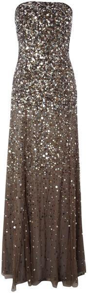 Strapless Beaded Long Dress - Lyst