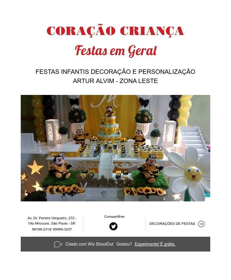 CORAÇÃO CRIANÇA   Festas em Geral
