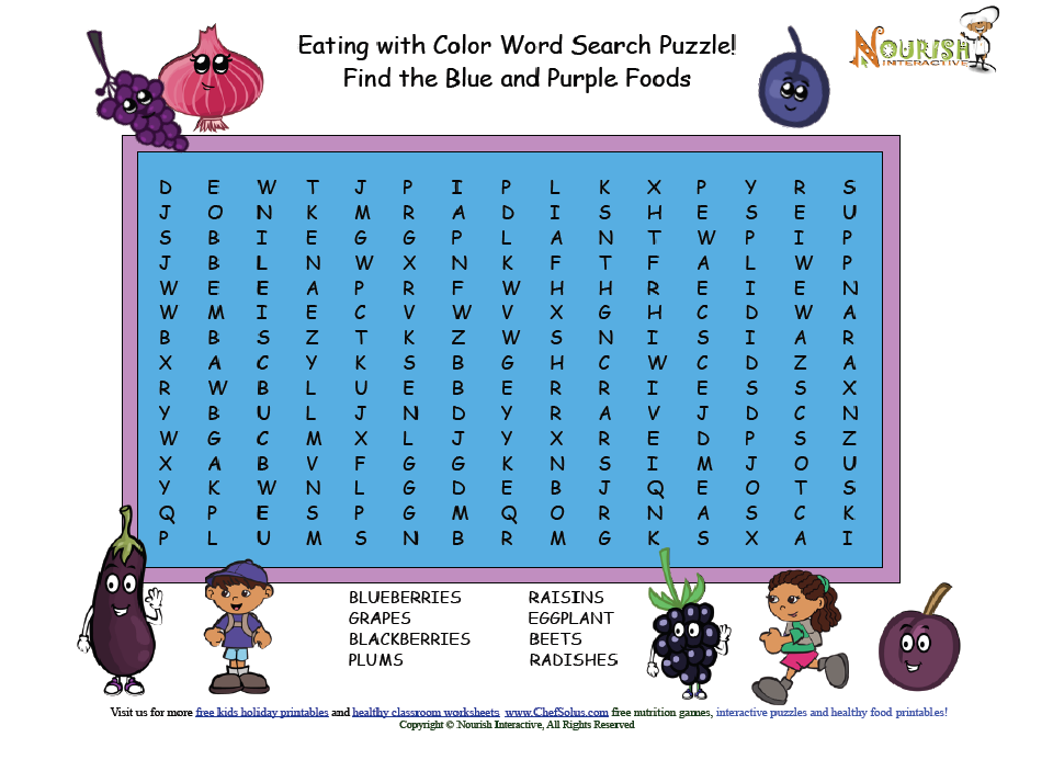 """Eating with Color Word Search Puzzle """"Blue and Purple"""