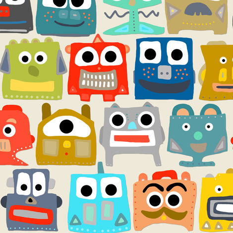summer baby robots small fabric by scrummy on Spoonflower - custom fabric