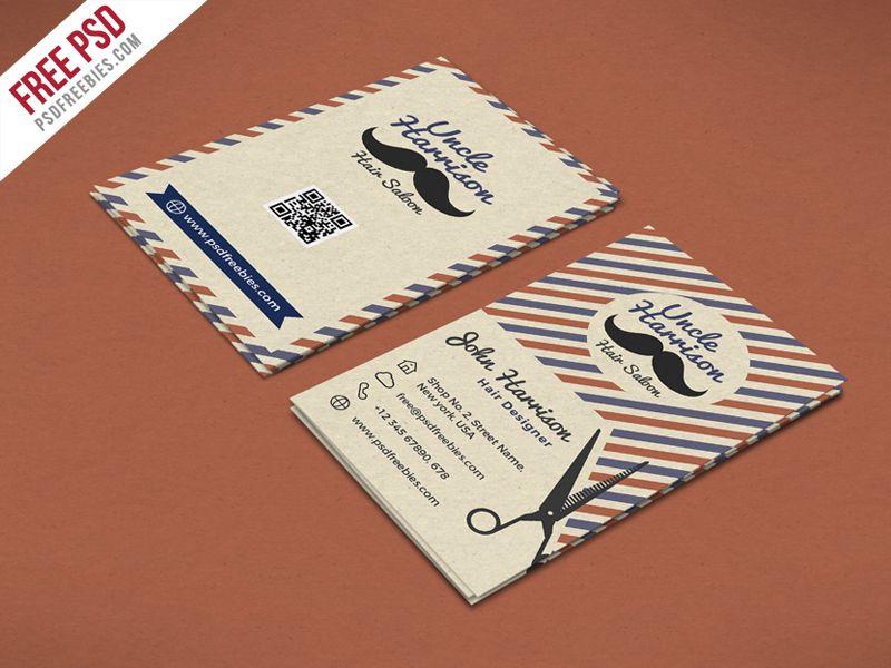 Retro Barber Shop Business Card PSD Template   Psd templates ...