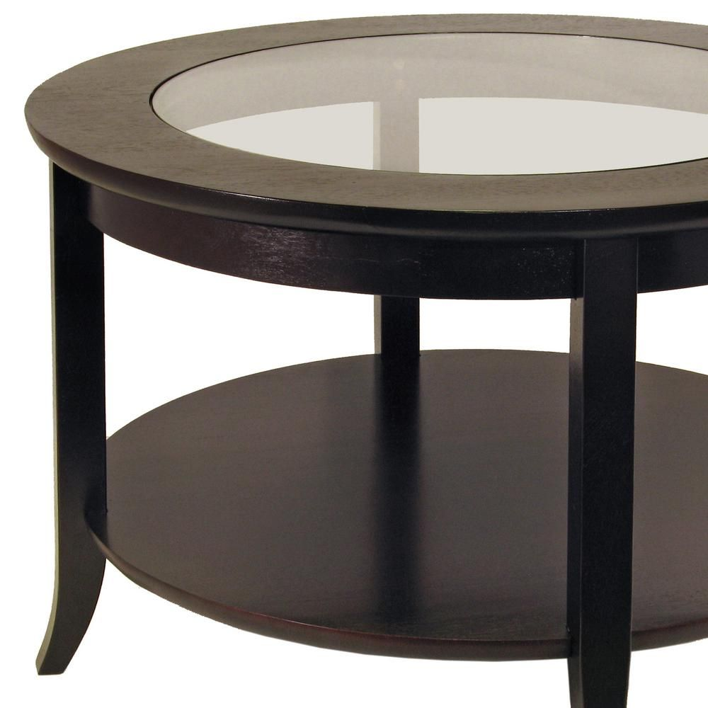 Winsome Wood Genoa 30 In Espresso Medium Round Composite Coffee Table With Shelf 92219 The Home Depot Coffee Table With Shelf Espresso Coffee Table Round Wood Coffee Table [ 1000 x 1000 Pixel ]