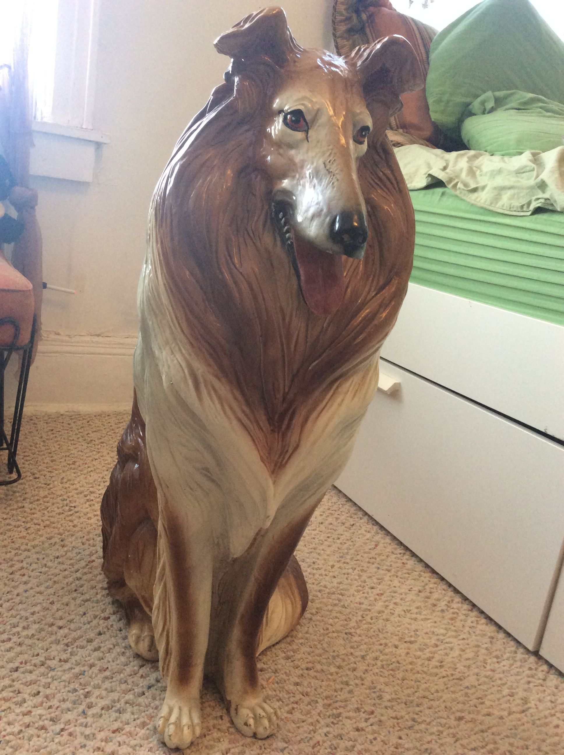 Collie Dog Life Full Size Statue By Marwal Ceramic For Sale