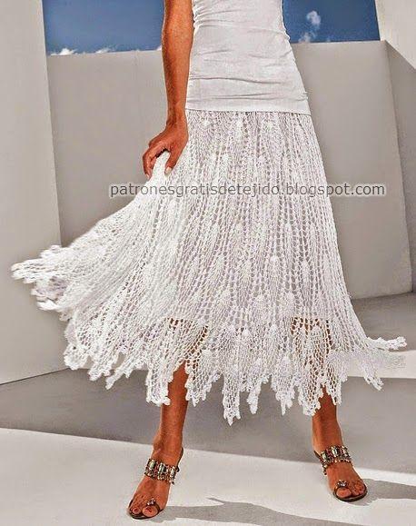 Hermosa falda tejida al crochet - con patrones | Crochet y dos aguj ...