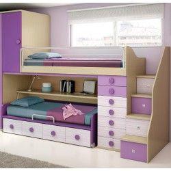 Literas con mesa 1051 dormitorios en 2019 pinterest litera con escritorio recamara y literas - Habitaciones ninos literas ...
