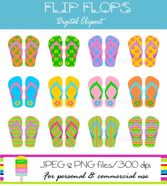 Instant Download – Summer Flip Flops Clipart – Personal and Commercial Use – Beach Flip Flops – Digital Graphics – Summer Clipart
