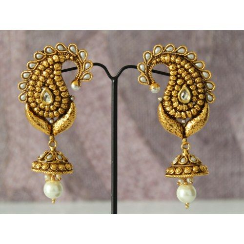 designer ethnic pearl kundan jhumkas danglers earrings