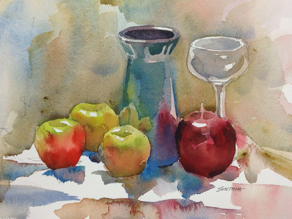 Still Life With Vase And Apples Master Watercolor Still Life