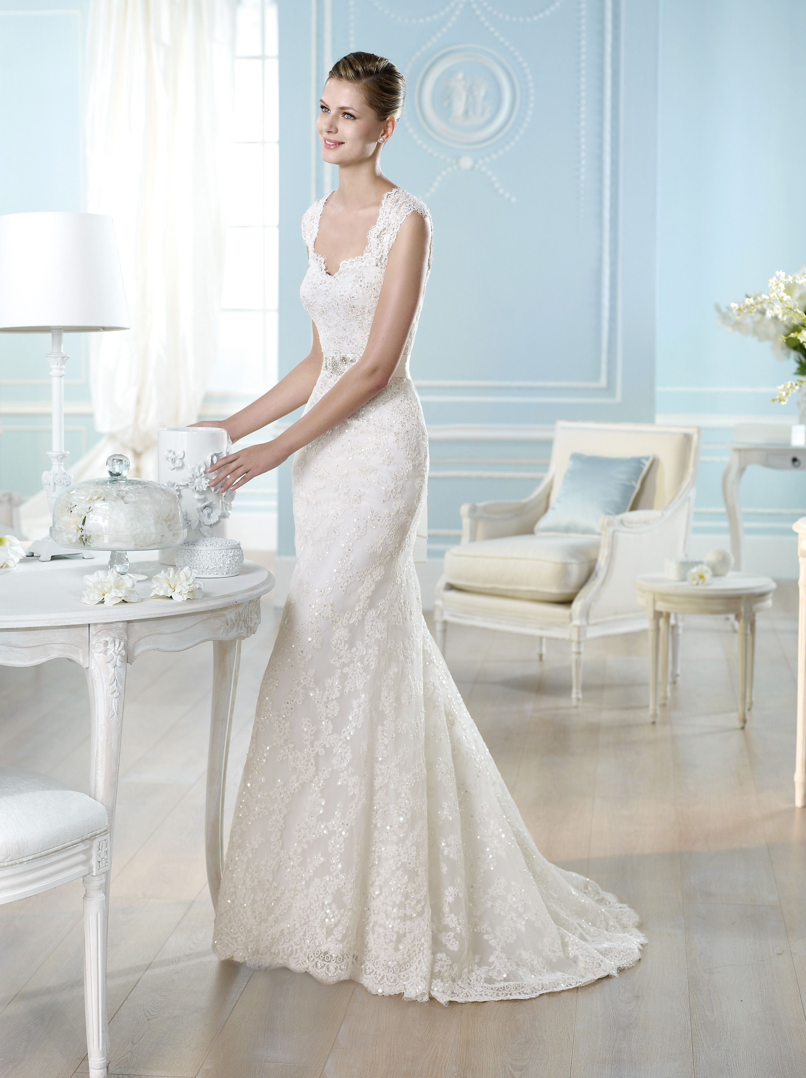 Pronovias wedding gown lace fit and flair belt cap sleeve wedding dress ombrellifo Gallery