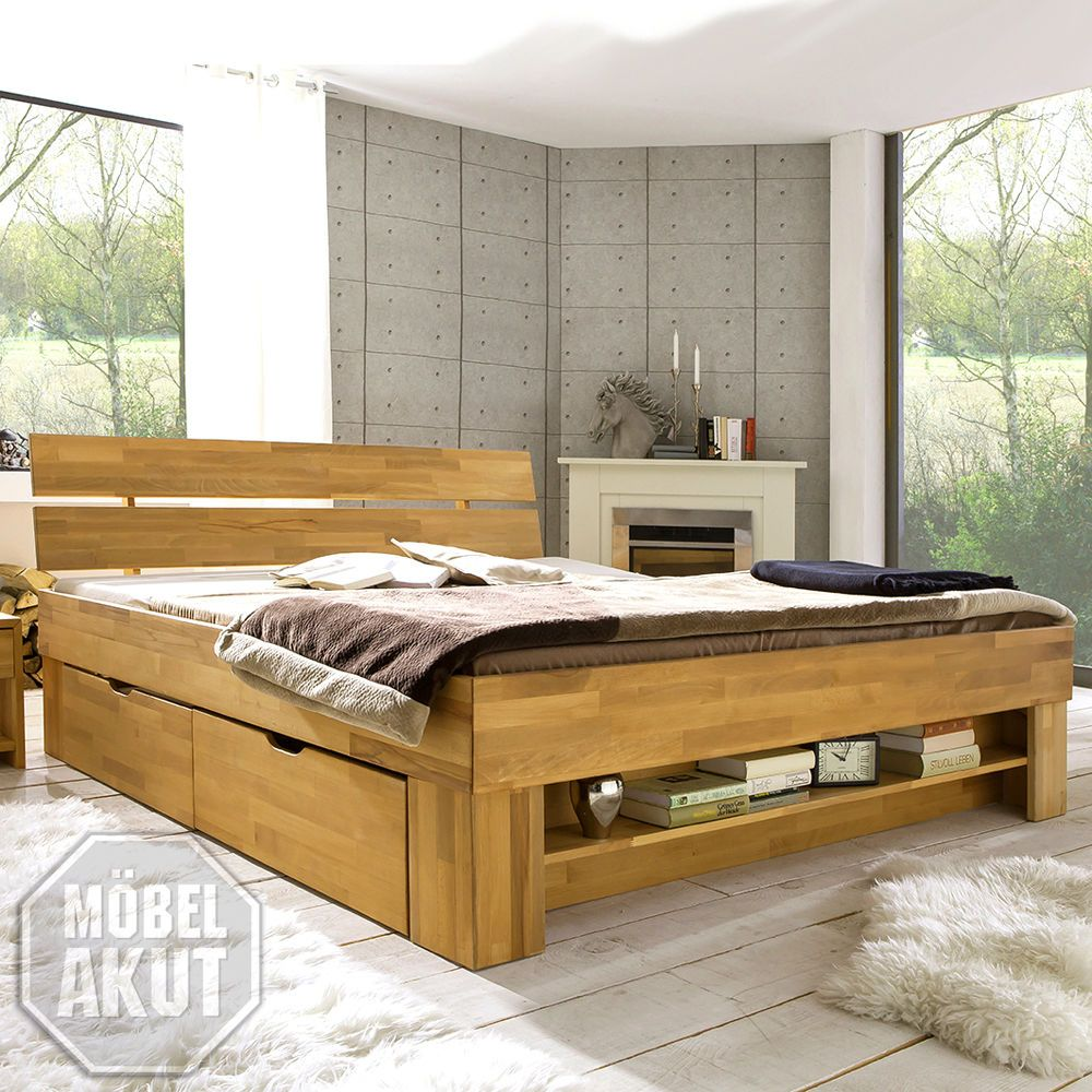 details zu futonbett sofie bett kernbuche massiv ge lt inkl bettkasten und regal 180x200. Black Bedroom Furniture Sets. Home Design Ideas