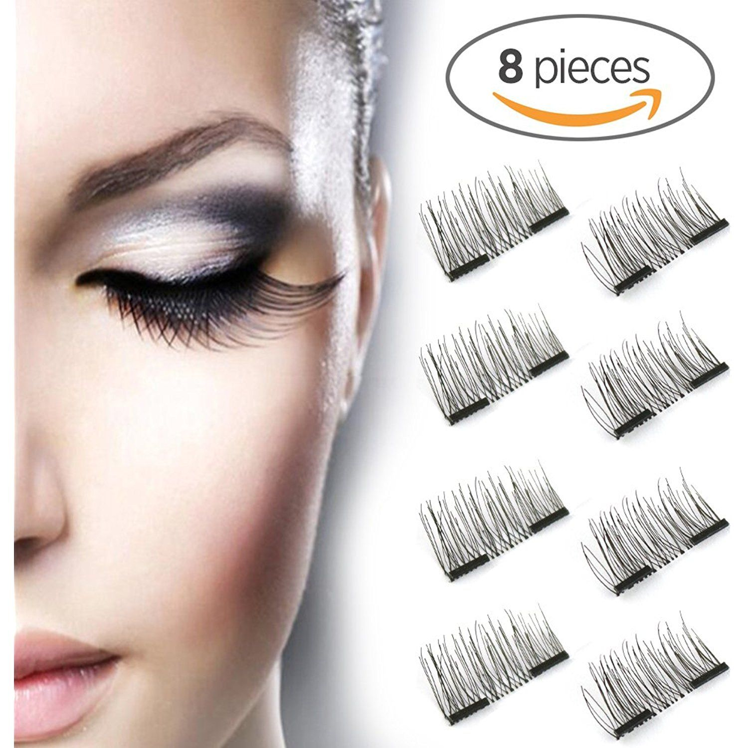0f078b51130 New Dual Magnetic False Eyelashes - 2 Pairs (8 Pieces) Ultra Thin 3D Fiber  Reusable Best Fake Lashes Extension for Natural, Perfect for Deep Set Eyes  # ...