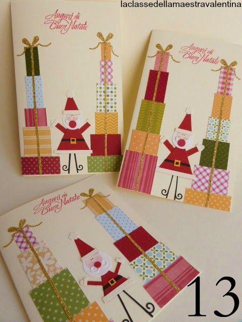 Care creative oggi vi faccio vedere dei biglietti con un Babbo Natale circondato da pile di pacchetti coloratissimi.              A domani...