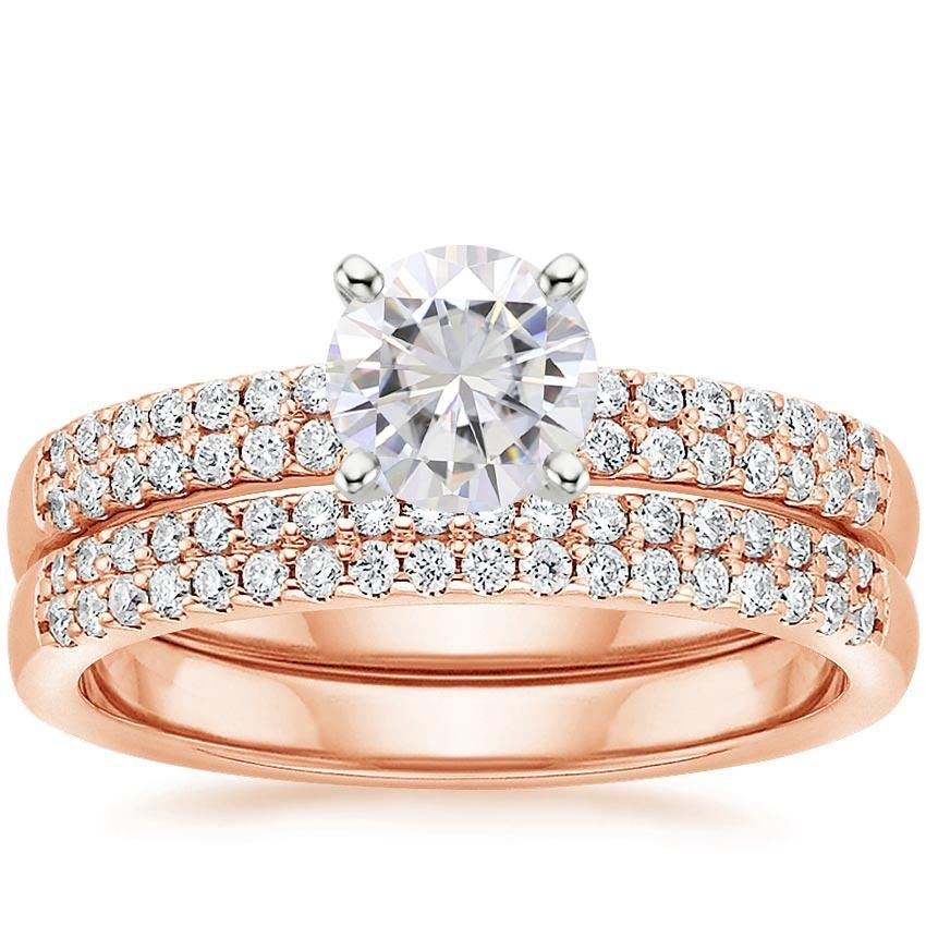 Moissanite Dawn Classic Diamond Bridal Set Rose Gold Diamond Ring Engagement Diamond Wedding Rings Sets Lab Created Diamond Rings Engagement