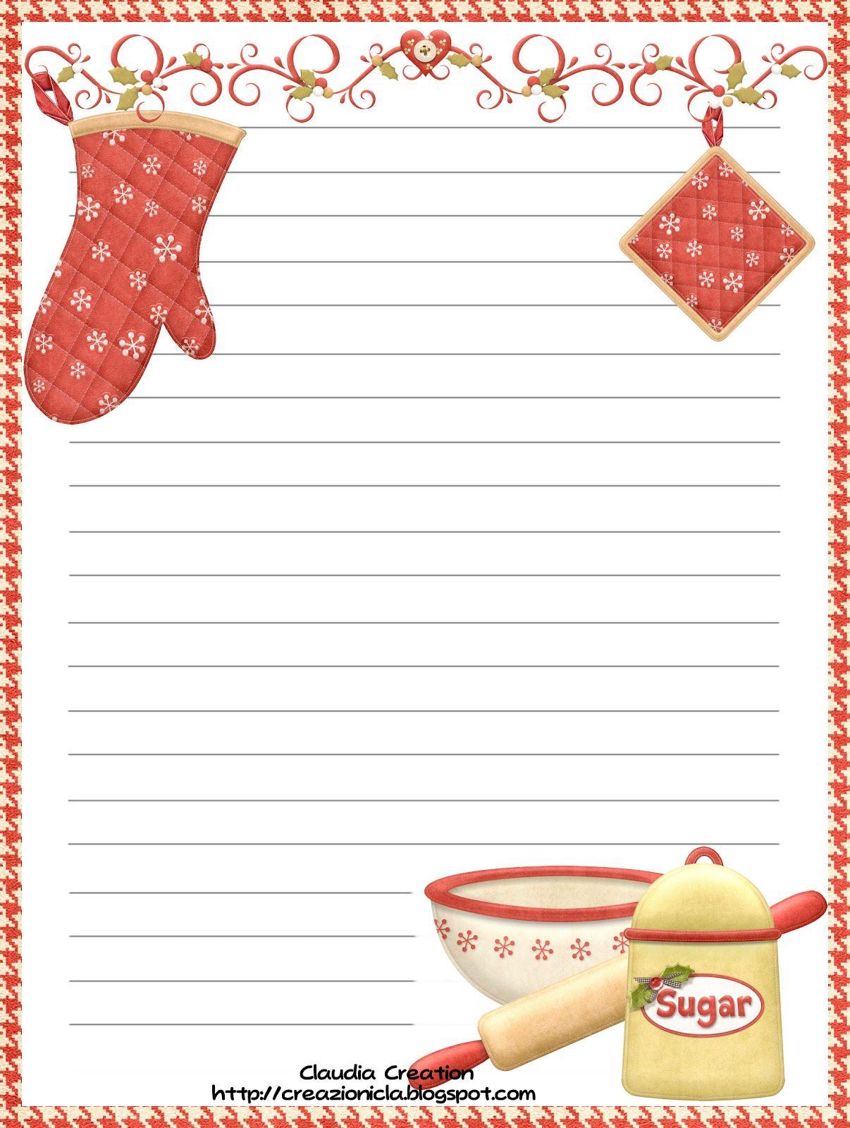 8.5x11 free recipe printable il mio angolo creativo: Ricettario ...
