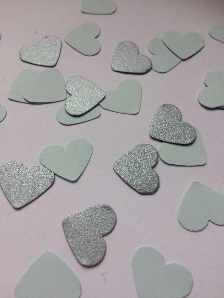 200 blue / silver heart table confetti wedding vintage party baby - confeti