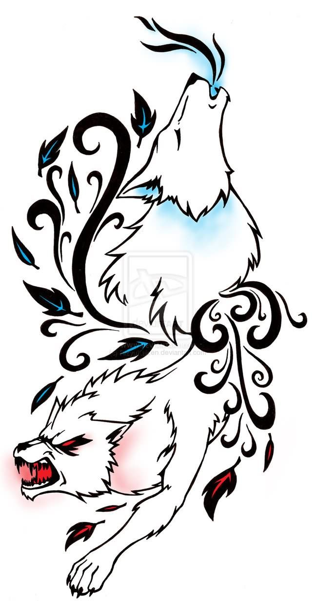 Good And Bad Wolves Tribal Wolf Tattoo Wolf Tattoos Tribal Wolf