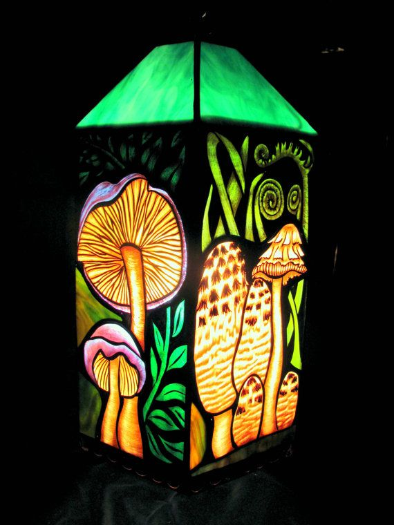 Mushroom Study pendant lamp by Woodlandstainedglass on ...
