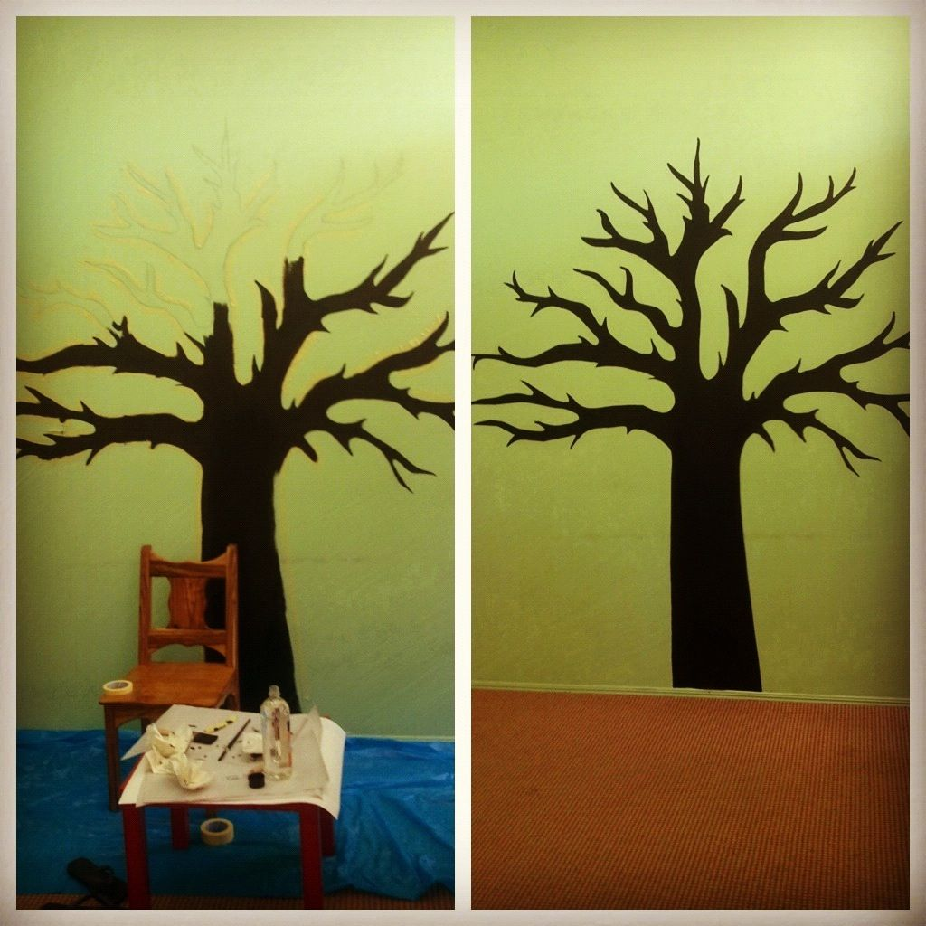 Painted a tree on a wall, using chalkboard paint | Wall ideas ...