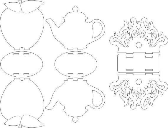 servilleteros de dibujo corte del laser modelo de vectores