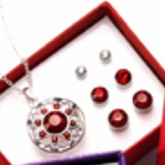 "Color delight 4-piece gift set Red new Color Delight 4-Piece Gift Set* Ready-to-give boxed set of faux stones in silvertone: • Pendant on a 16 1/2"" L chain with a 3 1/2"" extender. • Three pairs of pierced studs. Red no trades no paypal Avon  Jewelry"