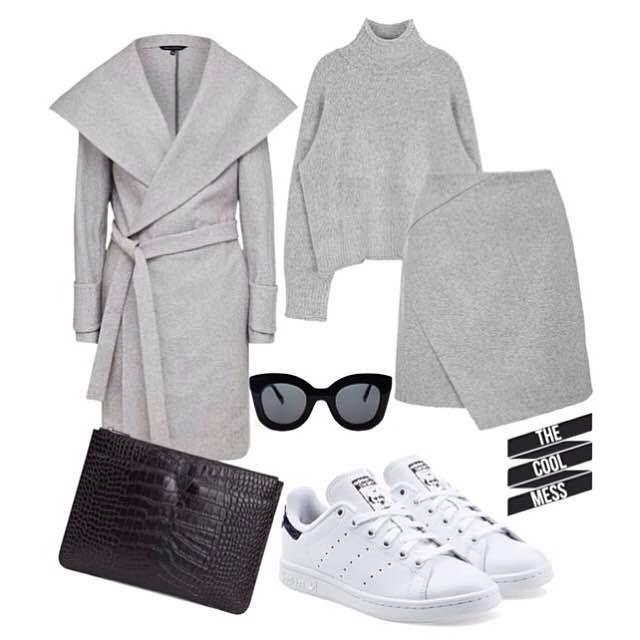 #grey #greyongrey #adidas #stansmith #woman #fashion #trend #outfit