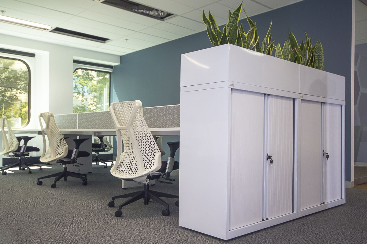White Modern Office Furniture Commercial Furniture. Office Plants.  Greenery. Fresh. Work.