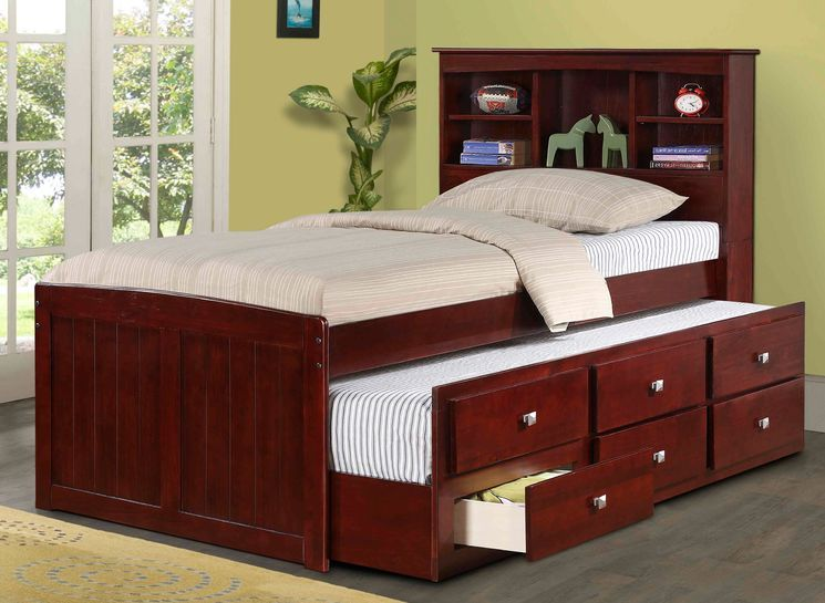 Captain Bed with Trundle and Bookcase coop room ideas Pinterest