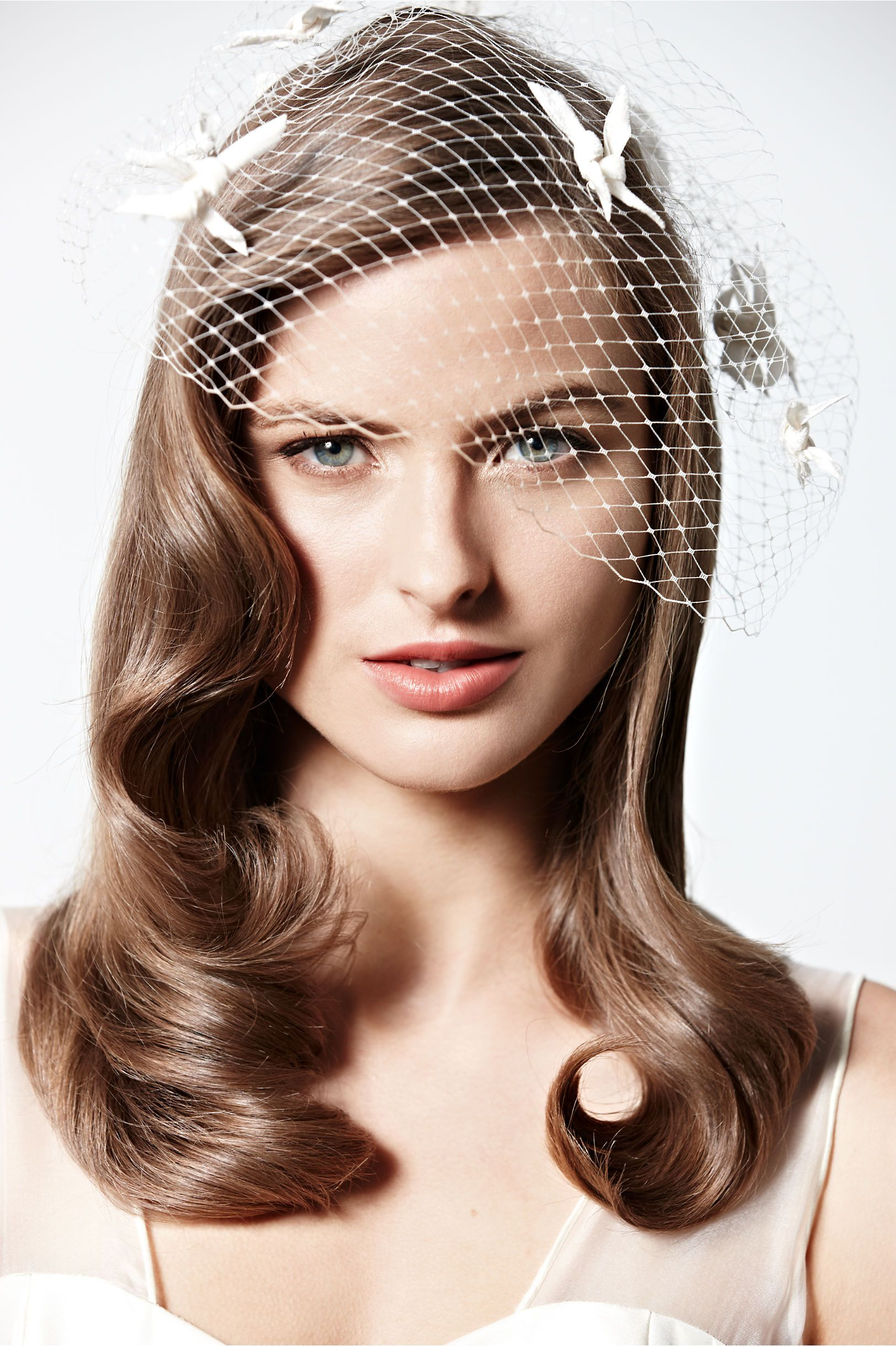 birdcage veil with vintage-styled hair. i wanted this type of veil